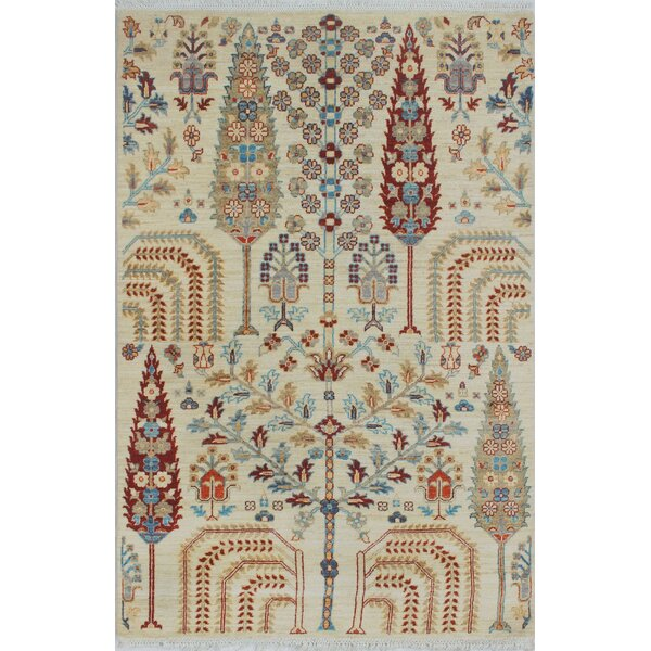 Woodmoor Chobi Hand Knotted Wool Ivory Fringe Area Rug by Loon Peak