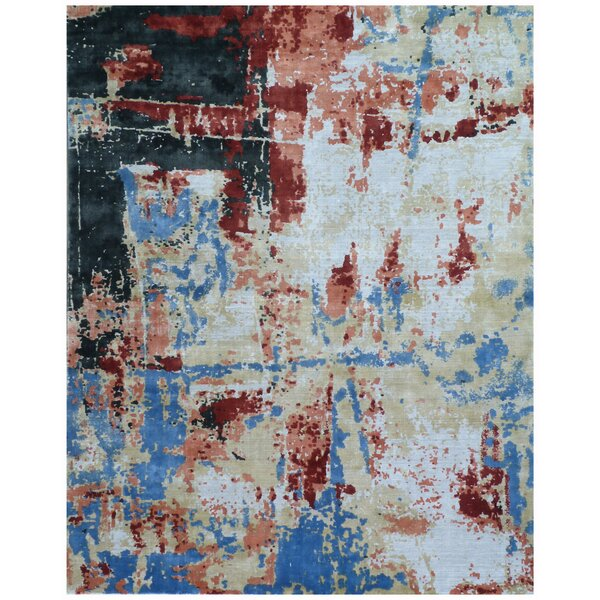Antolini Hand-Woven Red/Blue Area Rug by Exquisite Rugs