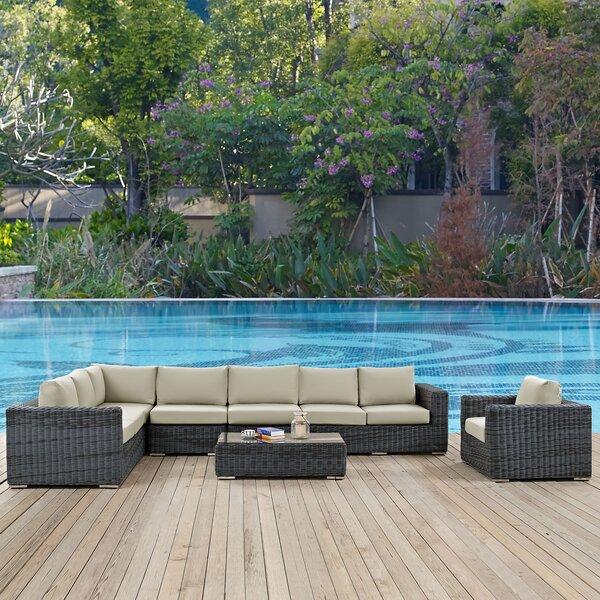 Keiran 7 Piece Sunbrella Sectional Set with Cushions Brayden Studio BRSU4130