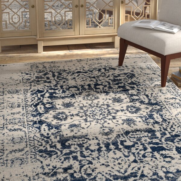 Grieve Cream Navy Area Rug By Bungalow Rose.
