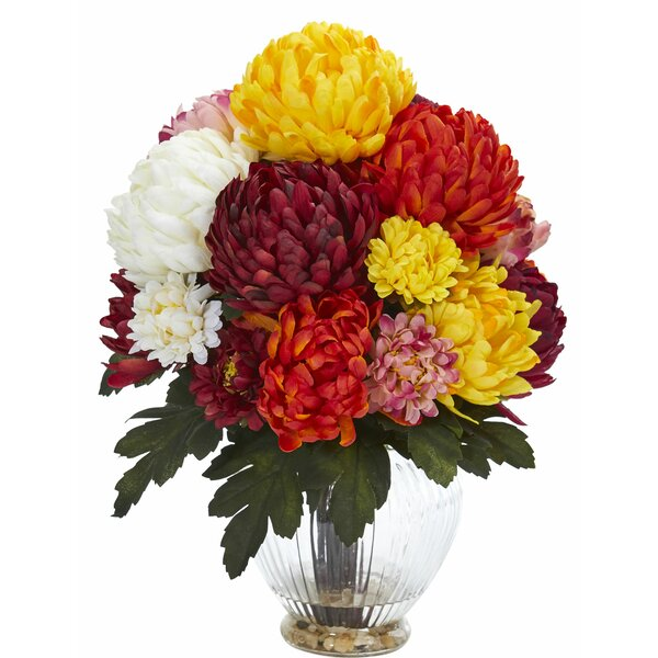 Artificial Mum Centerpiece in Vase by Charlton Home