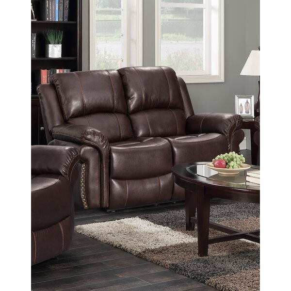 Offers Saving Monteith Leather Reclining Loveseat by Winston Porter by Winston Porter