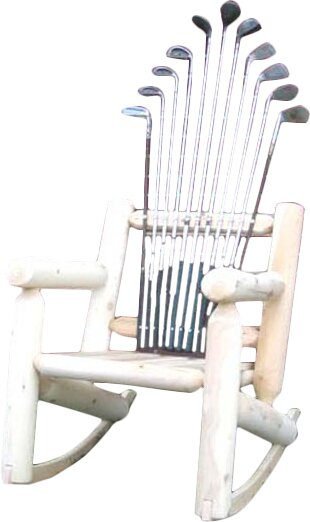 Golf Club Wood Rocking Adirondack Chair by Ski Chair