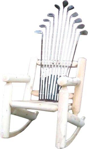 Golf Club Wood Rocking Adirondack Chair by Ski Chair