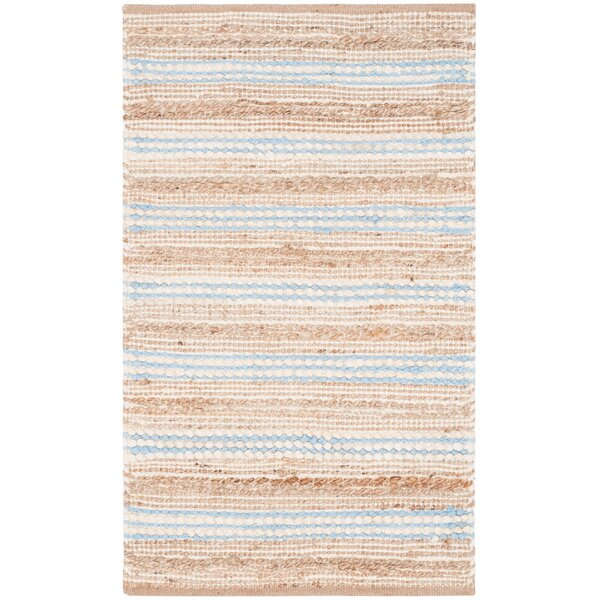 Arria Hand-Woven Natural/Light Blue Area Rug by Highland Dunes