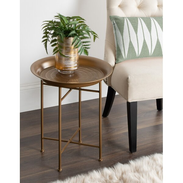 Pasquale Hammered Metal End Table By Bloomsbury Market