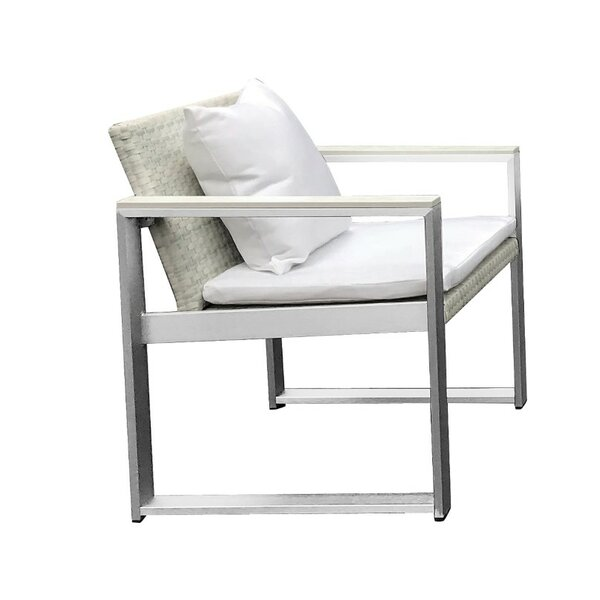 Laughlin Exquisitely Handsome Anodized Aluminum Upholstered Patio Dining Chair with Cushion by Orren Ellis