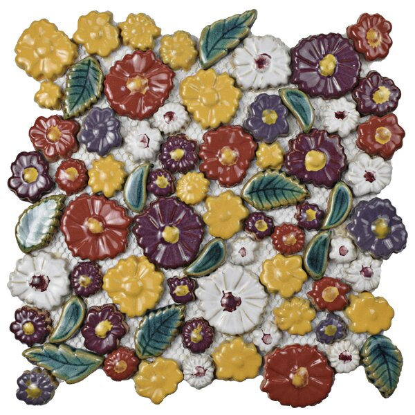 Floral Random Sized Ceramic Mosaic Tile in Red/Yellow by EliteTile