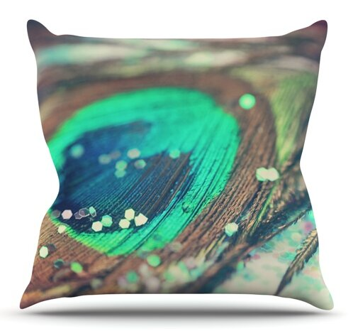 Peacocks Dream by Beth Engel Outdoor Throw Pillow by East Urban Home