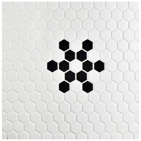 Retro  10 x 12 Porcelain Mosaic Tile in Matte Black/ Bright White by EliteTile