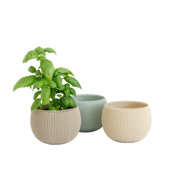 Cozie Knit Resin 3 Piece Pot Planter Set by Keter
