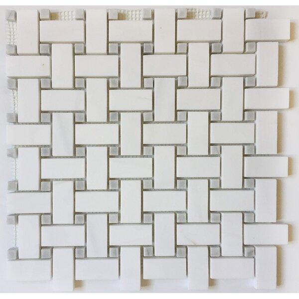 Basket Weave 1 x 2 Marble Mosaic Tile in Bianco Dolomite by Ephesus Stones