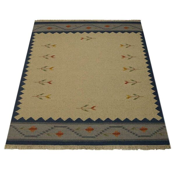 Marvin Handwoven Flatweave Wool Blue/Cream Area Rug by World Menagerie
