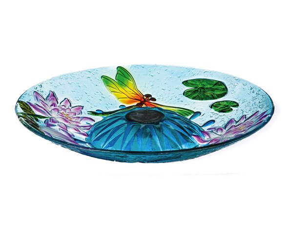 Dancing Dragonflies Solar Lighted Birdbath (Set of 3) by Evergreen Flag & Garden