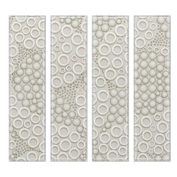 Crystal 3 x 12 Beveled Glass Subway Tile in Slate/Cream by Upscale Designs by EMA