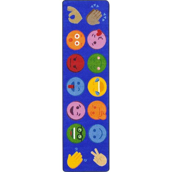 Emoji Expressions Blue Area Rug by Joy Carpets