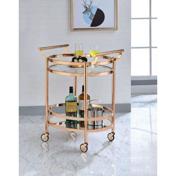 Malviya Oval Metal Serving Bar Cart by Brayden Studio Brayden Studio