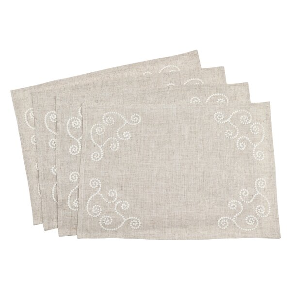 Arik Embroidered Swirl Blend Placemat (Set of 4) by One Allium Way