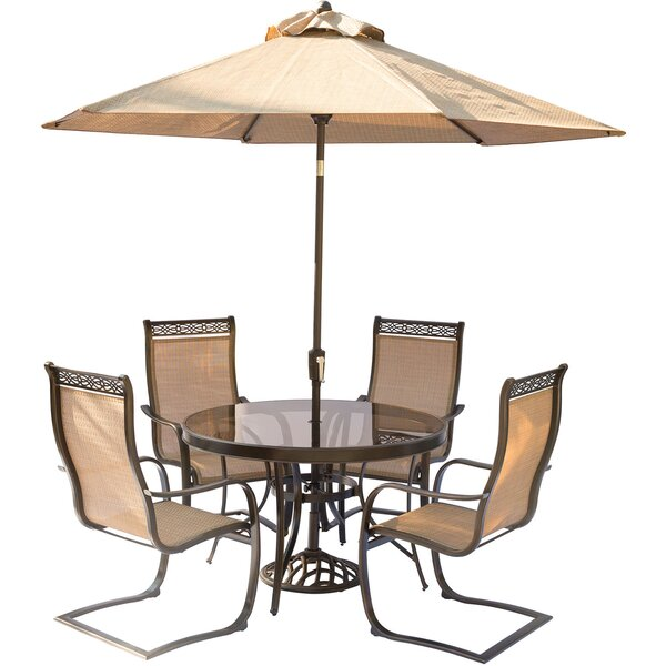 Bucci 5 Piece Outdoor Dinning Set with Table Umbrella and Umbrella Stand by Fleur De Lis Living