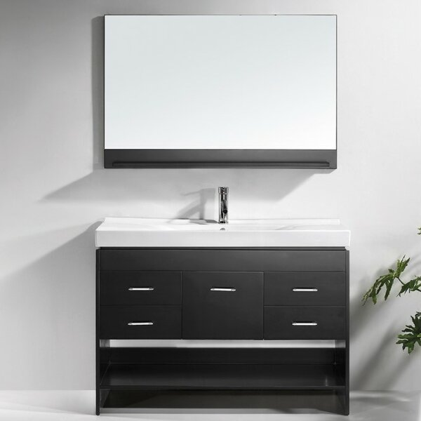 Carstens 47 Single Bathroom Vanity Set with Ceramic Top and Mirror by Mercury Row