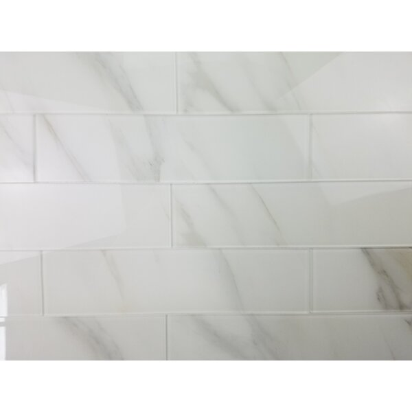 Nature 4 x 16 Glass Subway Tile in Calacatta White/Gray Veins by Abolos