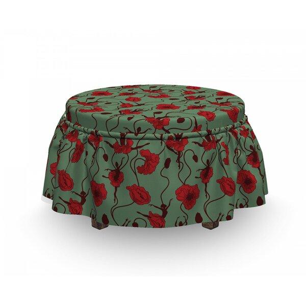 Poppy Floral Arrangement Dance 2 Piece Box Cushion Ottoman Slipcover Set By East Urban Home