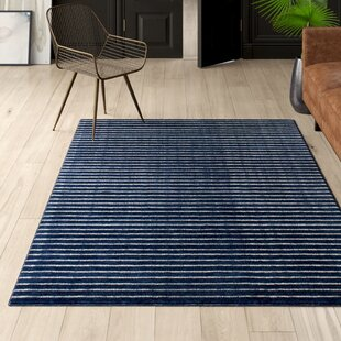 Worsham Hand-Knotted Wool Navy Area Rug by Mercury Row