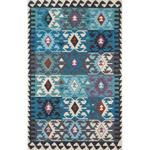 Bromville Hand-Hooked Blue Indoor/Outdoor Area Rug by World Menagerie