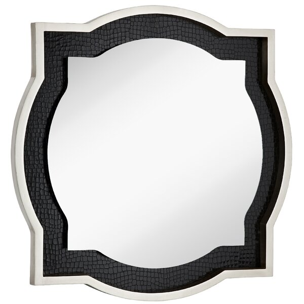 Round Accent Mirror with Chic Silver Leaf and Black Crocodile Frame by Majestic Mirror