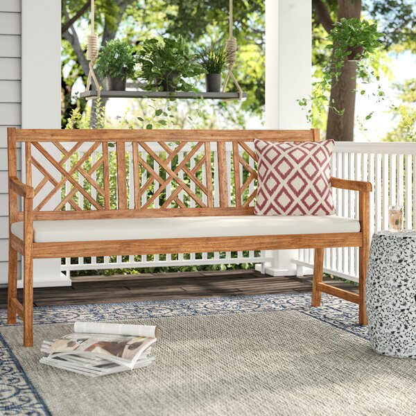 Stanwich 3 Seat Acacia and Polyester Garden Bench by Alcott Hill
