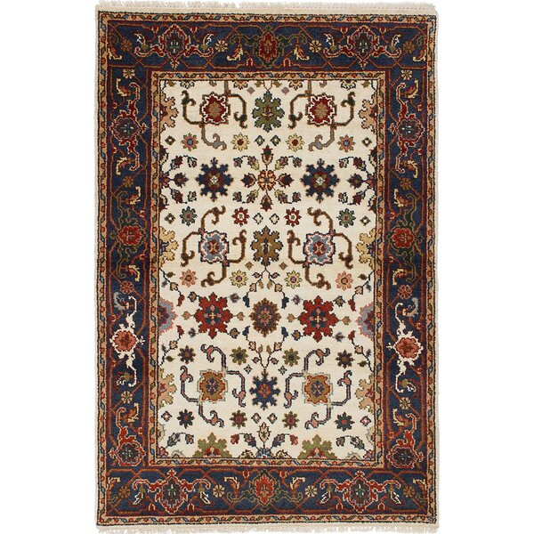 One-of-a-Kind Doerr Hand Knotted Wool Cream Area Rug by Isabelline