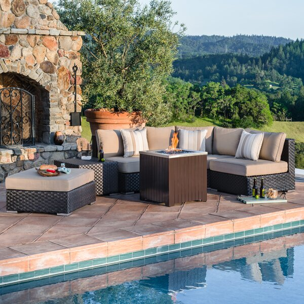 Roodhouse 6 Piece Rattan Sunbrella Sectional Seating Group with Cushions by Latitude Run Latitude Run