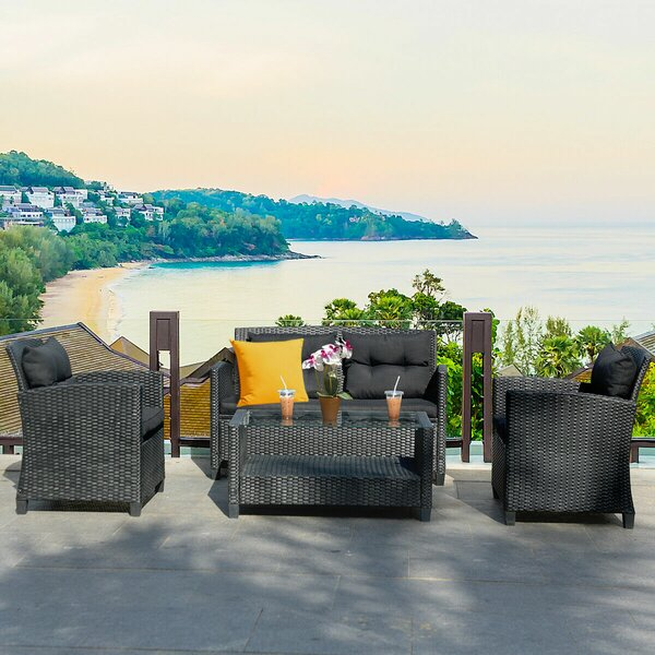 Medea 4 Piece Rattan Sofa Seating Group with Cushions by Ebern Designs