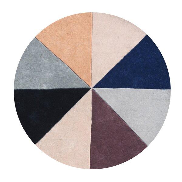 Kinnard Geometric Hand-Tufted Wool Beige/Black/Blue Area Rug by Latitude Run
