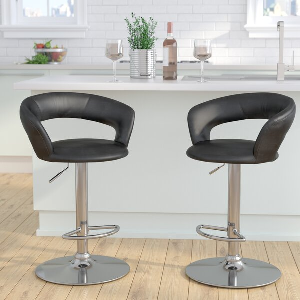 Evins Adjustable Height Swivel Bar Stool by Brayden Studio