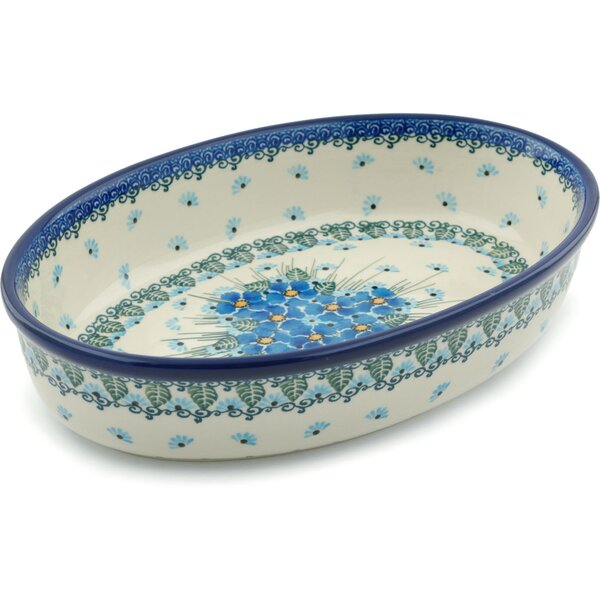 Forget Me Not Oval Polish Pottery Baker by Polmedia
