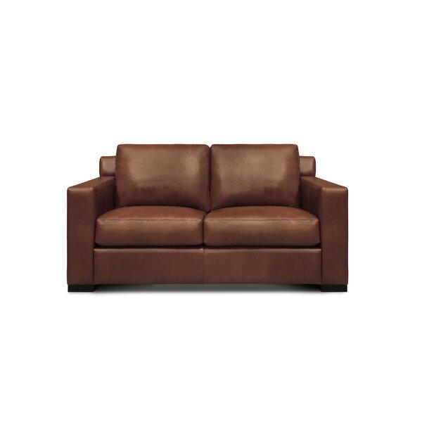 Akar Genuine Leather 64'' Square Arm Loveseat by Ebern Designs Ebern Designs