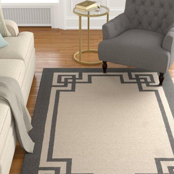 Reedsville Hand-Hooked Wool Ivory/Charcoal Indoor/Outdoor Area Rug