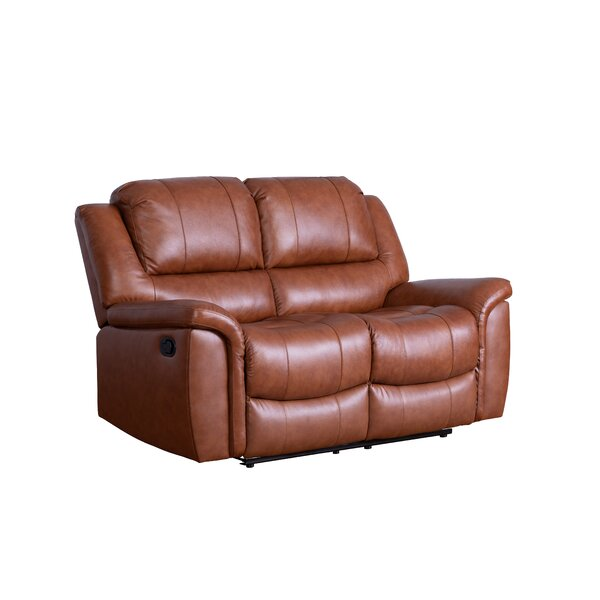 Keziah Genuine Leather Reclining Loveseat by Darby Home Co
