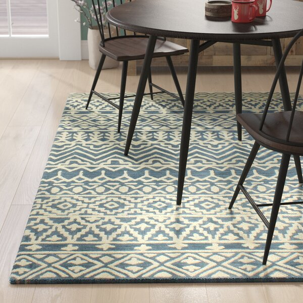 Peterman Hand-Tufted Wool Azure Area Rug by Union Rustic