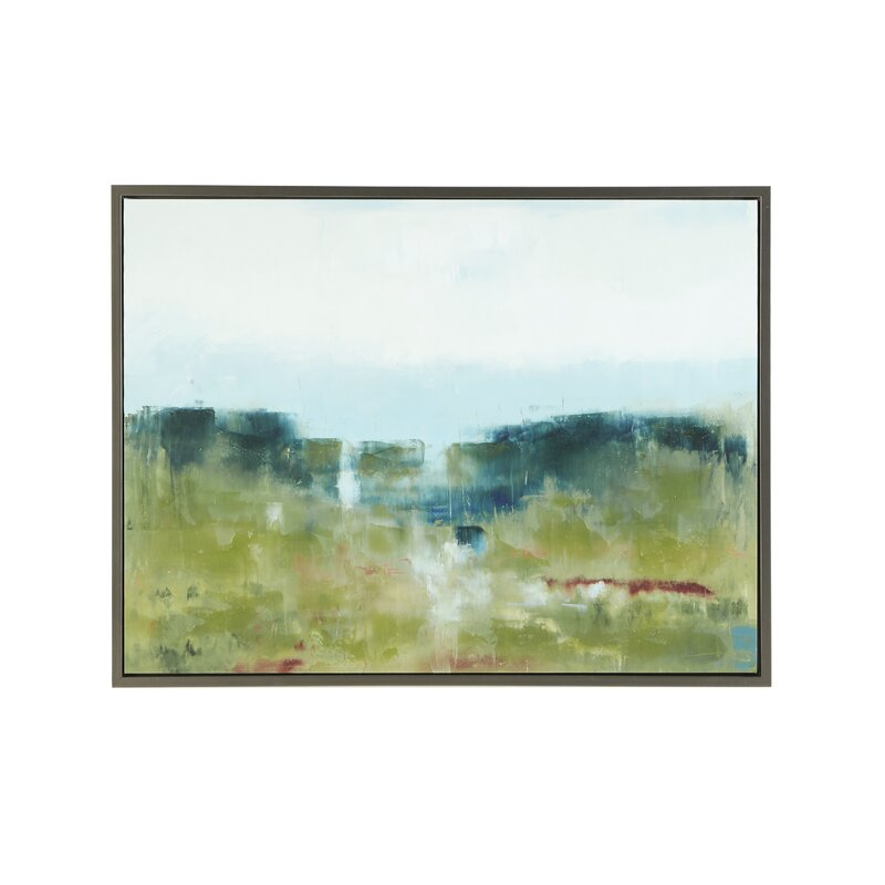 5b49ecb2532 Hand Embellished  Morning Fields Green  Framed Graphic Art Print on Canvas