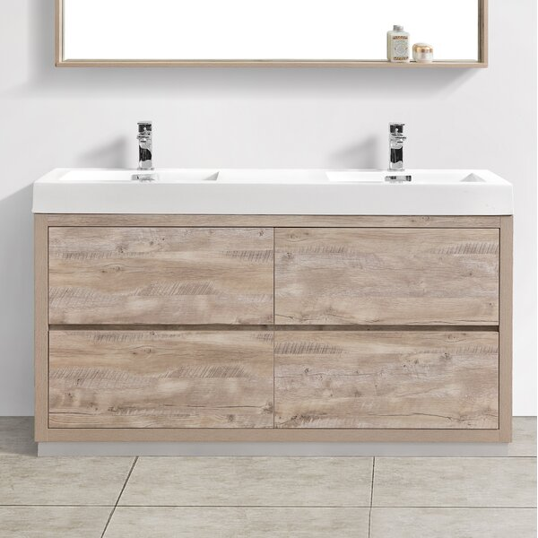 Malakai 59  Double Sink Bathroom Vanity by Wade Logan