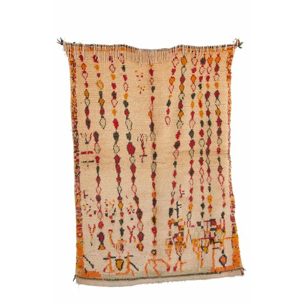 Azilal Vintage Moroccan Hand Knotted Wool Beige/Orange Area Rug by Indigo&Lavender