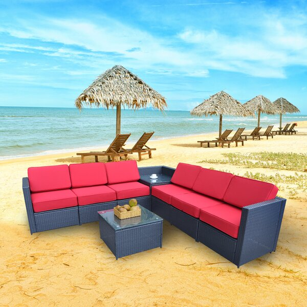 Shorehamby Outdoor 8 Piece Sectional Seating Group with Cushions by Ivy Bronx