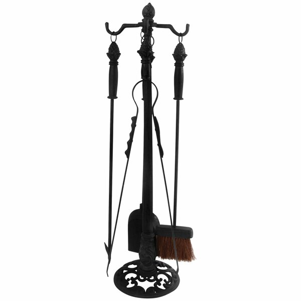 Slaven 4 Piece Cast Iron Fireplace Tool Stand Set By Fleur De Lis Living