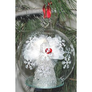 Light Up Fiber Optic White Angel Red Heart Ornament