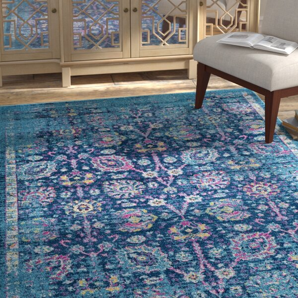 Kay Teal/Navy Area Rug by Bungalow Rose