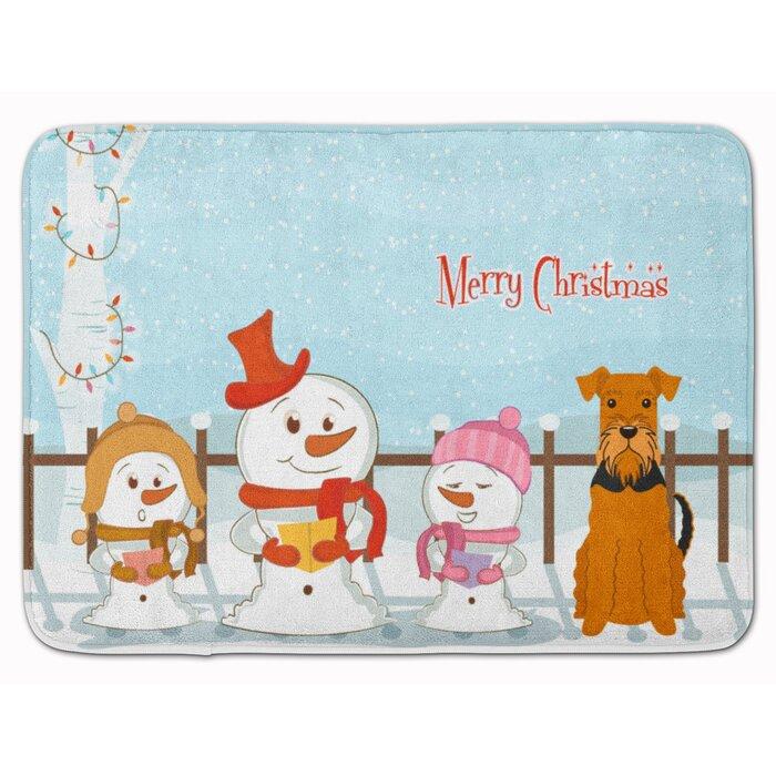 Merry Christmas Carolers Airedale Rectangle Microfiber Non-Slip Bath Rug