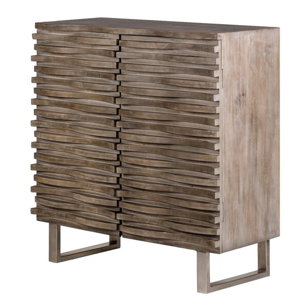 Marisela Mango Wood Wave 2 Door Accent Cabinet by Foundry Select