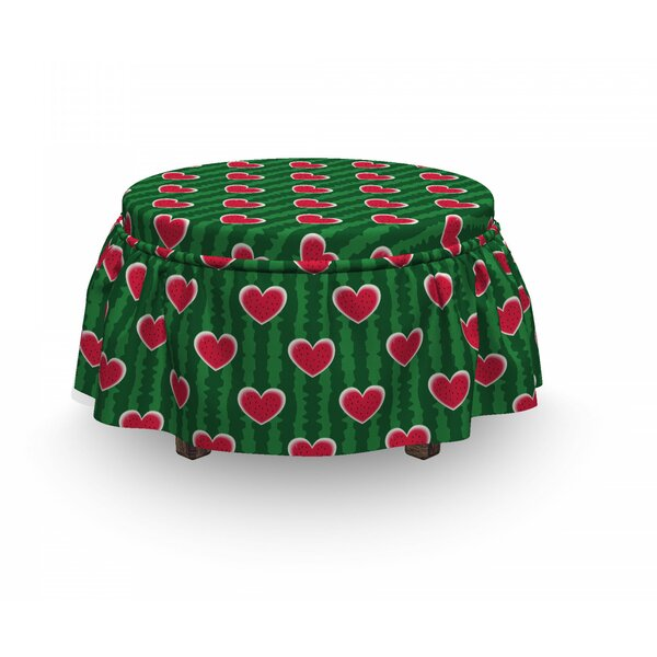 Deals Hearts Love 2 Piece Box Cushion Ottoman Slipcover Set
